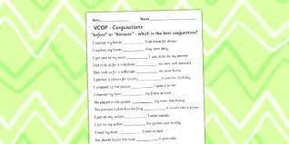 before u0027 and u0027because u0027 conjunctions activity sheet