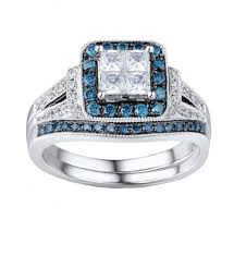 blue diamond wedding rings 1 carat vintage blue diamond wedding ring set 14k white gold hi