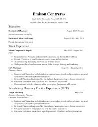 Cvs Pharmacy Resume Emison Contreras Resume Cv
