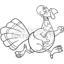 royalty free black and white football turkey bird character