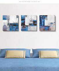 3 panel hand painted wall art blue abstract canvas painting pot