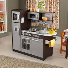 kidkraft island kitchen kidkraft espresso toddler play kitchen with metal accessory set