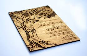 laser cut wood invitations tree engraved invitation wooden wedding invitation real wood