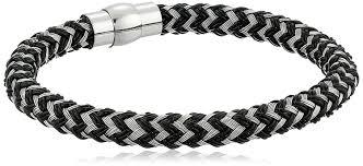 mens bracelet black leather images Men 39 s woven black leather and steel cord bracelet jpg