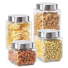 oggi kitchen canisters amazon com oggi 4 square glass canister set with stainless