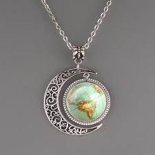 graduation jewelry gift compass necklace nautical jewelry moon charm pendant