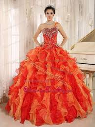 orange quinceanera dresses orange beaded one shoulder ruffles organza sweet 16 dresses
