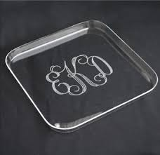 monogrammed platters and trays monogrammed acrylic square tray the monogram merchant