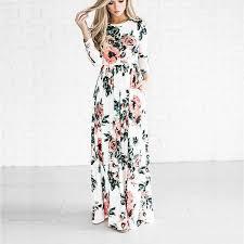 2017 summer women vintage print dress casual loose o neck long