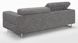 repose tete canapé canapé fixe 3 places avec appui tête tissu gris et piètement en