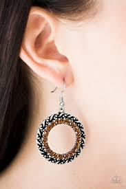 grunge earrings paparazzi grunge and glitter brown rhinestones ornate frame