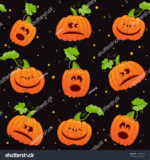 cute spooky background seamless halloween background with cute pumpkins on black