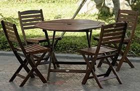 folding patio dining table amazon com 5pc outdoor wood folding patio dining set outdoor and