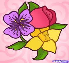 flower garden drawing for kids flowers and leaves