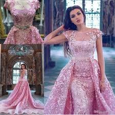 pink 3d floral applique over skirt prom dresses with crystal belt