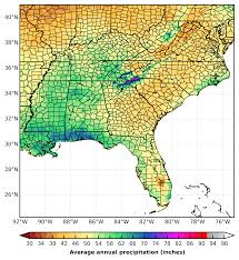 Southeastern United States Map by Prism Precipitation Maps For The Southeast U S Southeast
