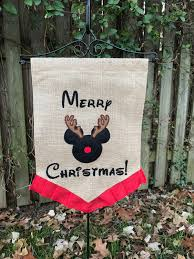 Mickey Mouse Flag Embroidered Mickey Mouse Reindeer Christmas Garden Flag