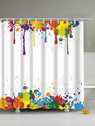Waterproof Bathroom Paint Colorful Paint Splatter Waterproof Polyester Shower Curtain