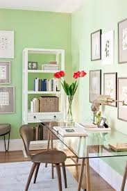 some tips for creating relax and comfortable office or work space soothing green wall paint color ideas mixed with framed art gallery and contemporary home office furniture