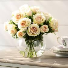 Vase With Roses Lark Manor Sainte Rose Creamy Peach Roses In Glass Cup Vase