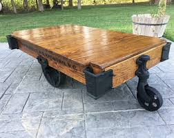 railroad cart coffee table cart coffee table etsy