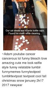 Christmas Memes Tumblr - our cat steals and hoards bottle caps found his stash while cleaning