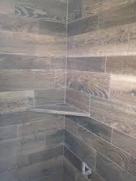grey wood tile shower amazing tile