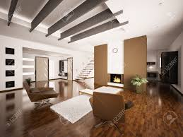 modern apartment interior with fireplace and staircase living