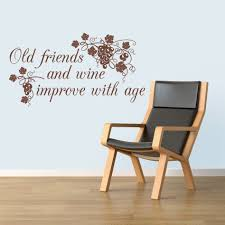 old friends and wine new wall stickers decals chocolate old friends and wine new wall decal beside comfy chair
