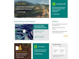 annual reports investor contacts news vale u0027s investor relations site has been totally reformulated