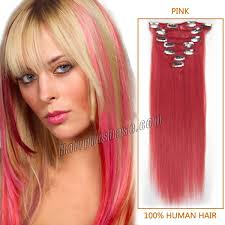 Hair Extension Clip Ins Cheap by Pink Clip In Hair Extensions Human Hair Indian Remy Hair