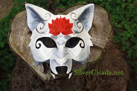 Wolf Mask Leather White Wolf Mask With Red Lotus U2014 Weasyl