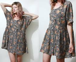 90s dress 90s vintage babydoll dress floral vtg slouchy oversized mini
