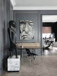 Home Sculpture Decor Interior Design Contemporary Office Grey Walls Sculpture Modern