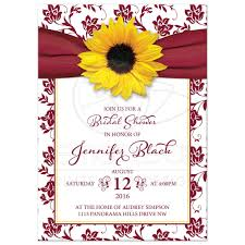 bridal shower invitation fall sunflower bridal shower invitation burgundy yellow ribbon floral