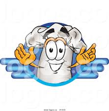 Royalty Free Cartoon Vector Logo Of A Chef Hat Mascot Within Blue