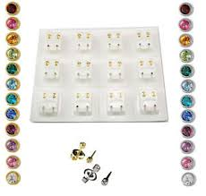 sterilized ear piercing studs ear piercing studs earrings certified sterile bezel gold silver