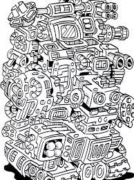 robot coloring book doodlers anonymous illustration friday