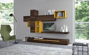 Small Tv Cabinet Design Crossed Brown Wooden Wall Mount With Yellow Shelves Combined With