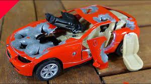cars bmw red bmw z4 destruction of bmw z4 in slow motion toy car bmw youtube