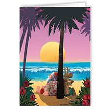 amazon com tropical sunset christmas card beach 18 cards and