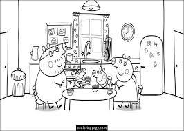 peppa pig family eating coloring kids printable thl