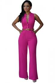 pink jumpsuit womens womens sleeveless belted wide leg jumpsuit pink