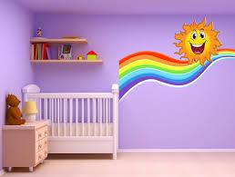 autocollant chambre bébé stickers autocollant chambre d enfant soleil arc en ciel 17560