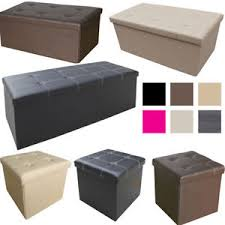 large ottoman faux leather stool folding seat chest foldable