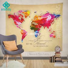 world map quote wall tapestry world map watercolor inspirational world map quote wall tapestry world map watercolor inspirational quot artbedding