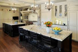 black white kitchen design using white marble kitchen island top