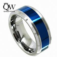 titanium tungsten rings images 2018 queenwish men wedding bands tungsten carbide ring blue jpg