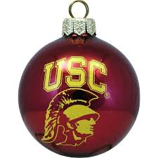 Glass Christmas Tree Ornament - usc tommy trojan red ball polish glass christmas tree ornament