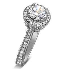 designer 1 carat round halo diamond engagement ring for women in